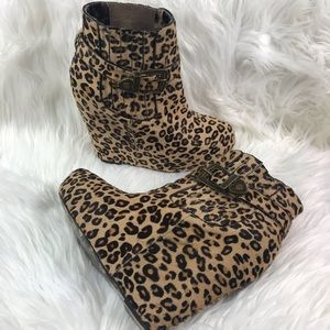 Betsey Johnson Shoes - Betsey Johnson Leopard Print Ankle Bootie Wedges